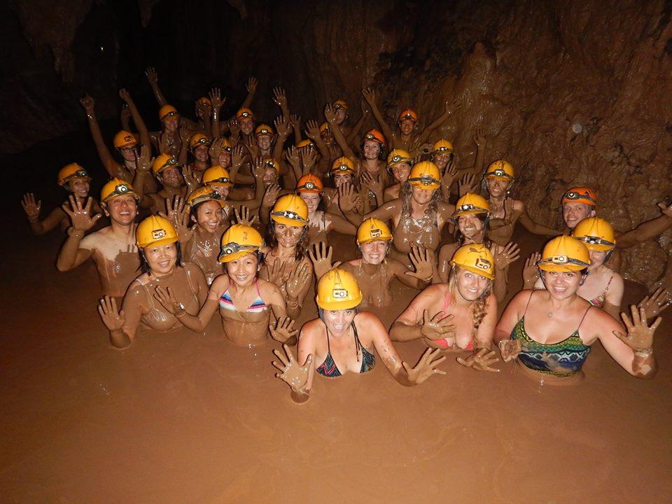 Dark cave zipline